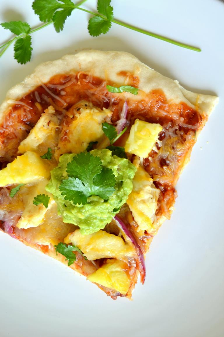 BBQ Chicken Pizza with Pineapple Guacamole