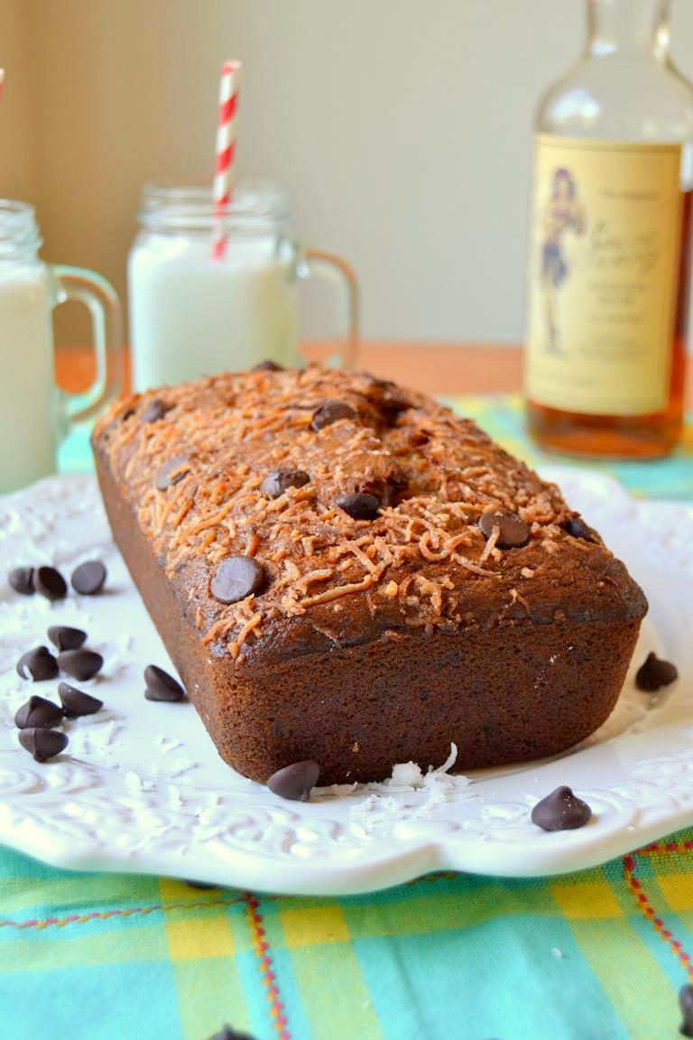 Toasted Coconut and Chocolate Chip Banana Bread with Rum