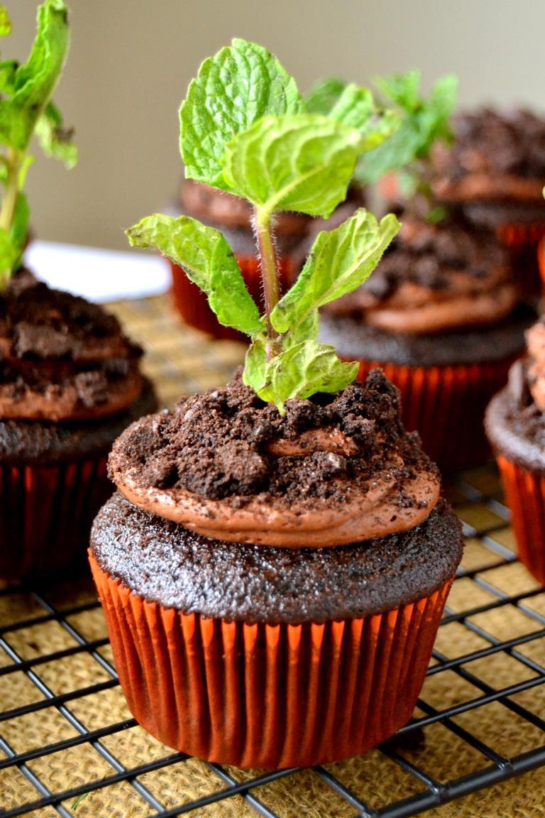 Tattooed Martha - Chocolate Potted Mint Cupcakes (8)