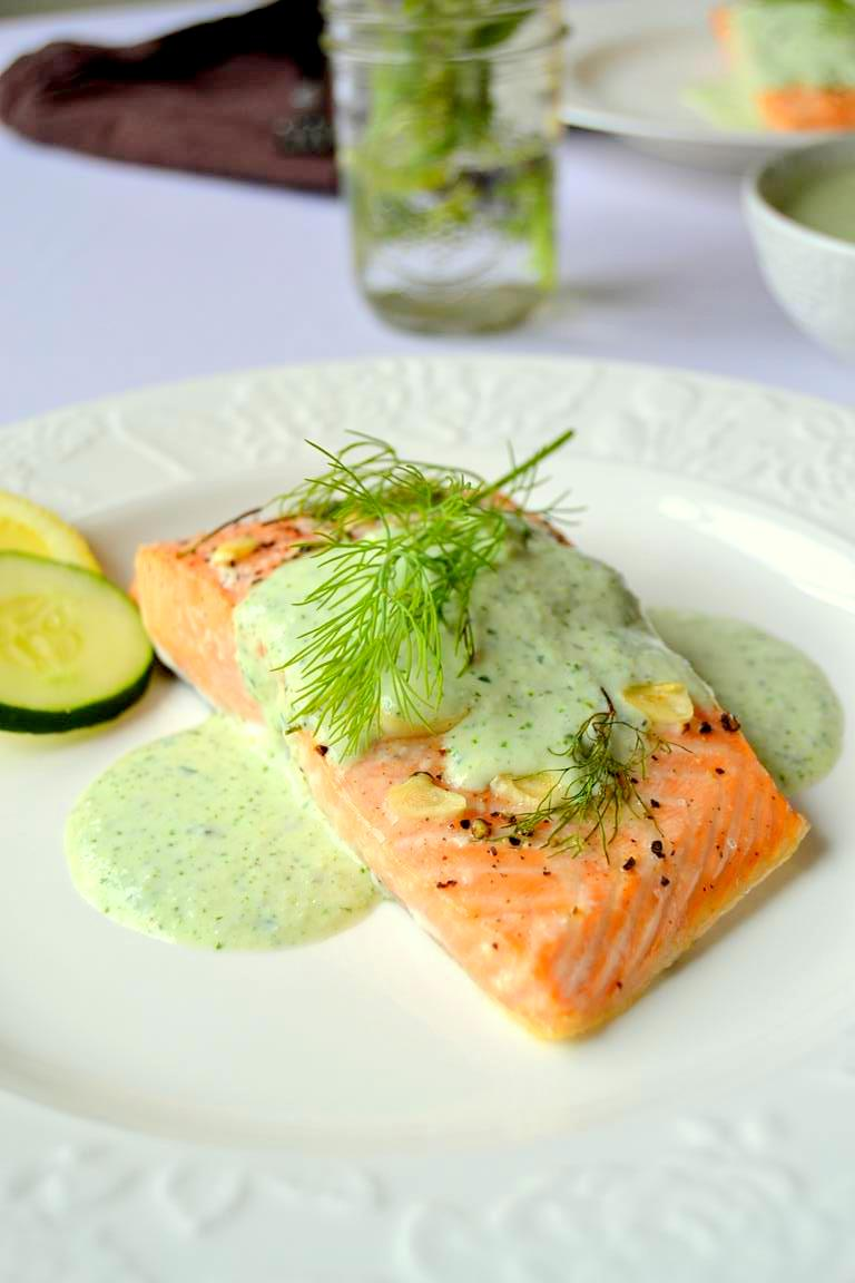 Simple Lemon Dill Salmon with Cucumber Cilantro Sauce