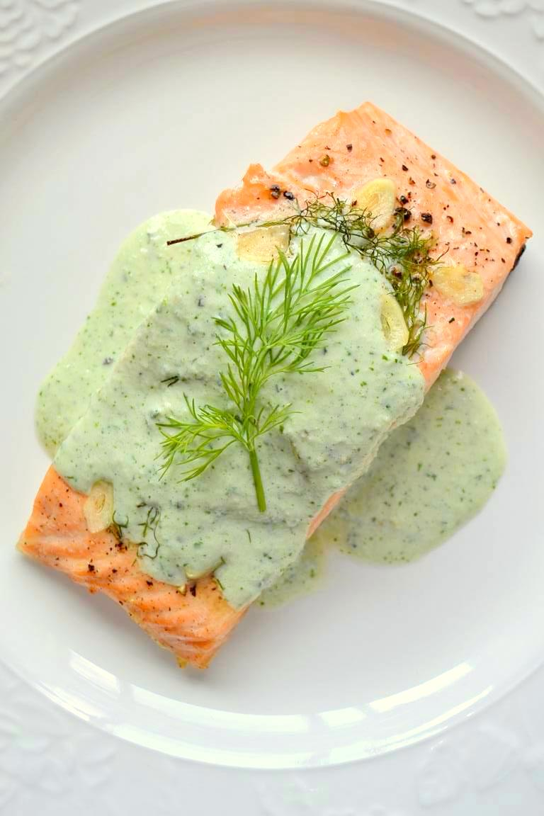 Simple Lemon Dill Salmon with Cucumber Cilantro Sauce (9)
