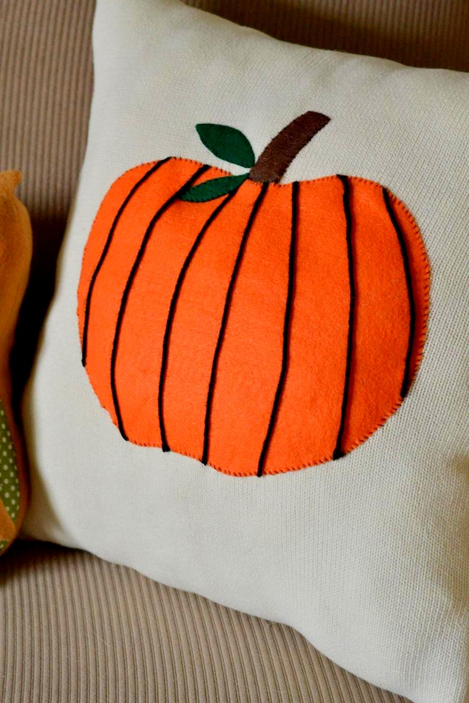 Pumpkin Patch Sweater Pillow on www.TattooedMartha.com