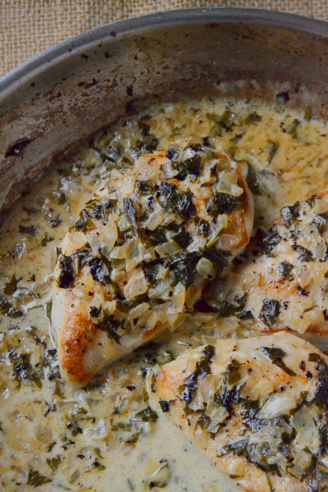 Tattooed Martha - Chicken in Basil Cream Sauce with Roasted Tomatoes (5)