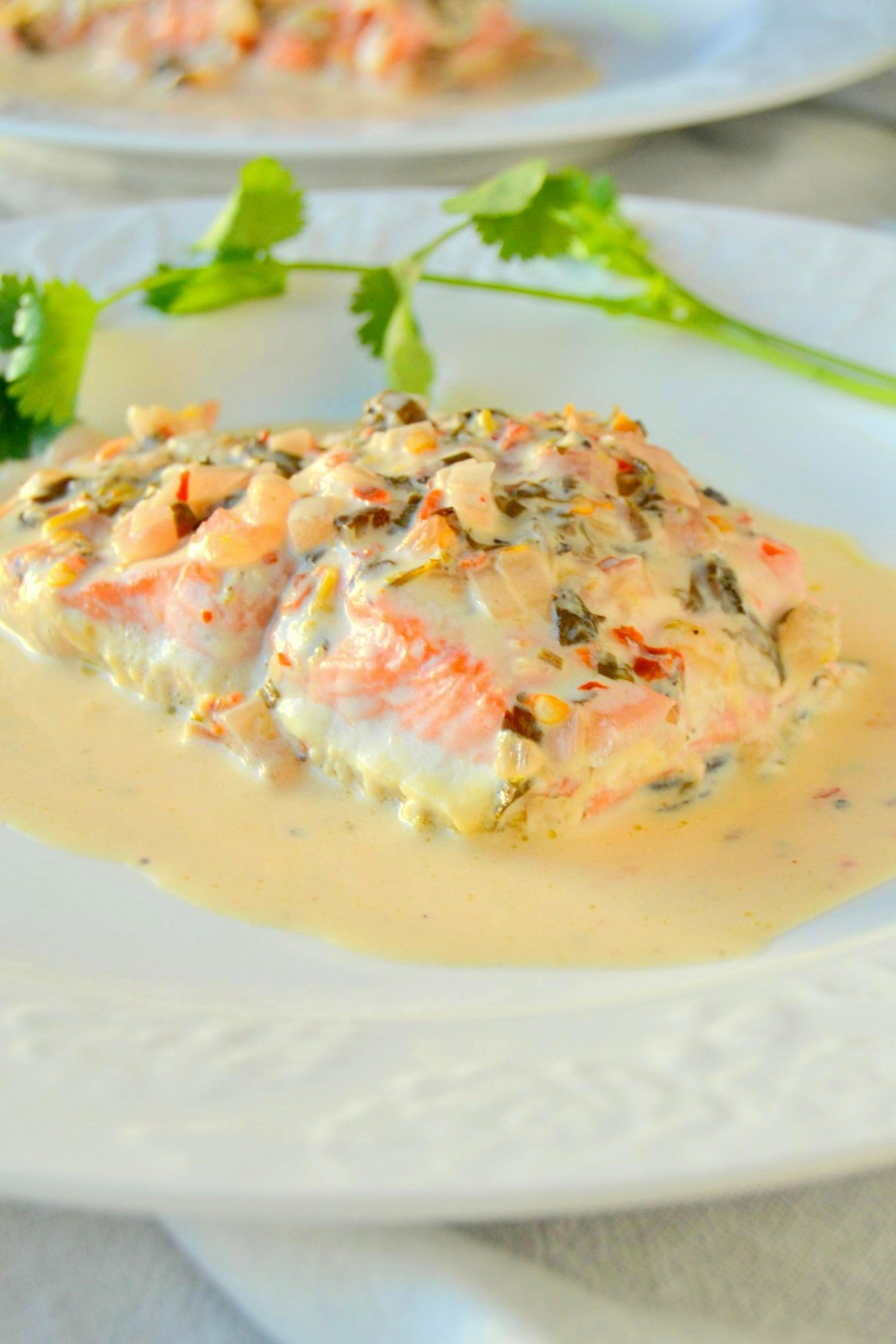 Salmon in Cilantro Lime Cream Sauce on TattooedMartha.com (6)