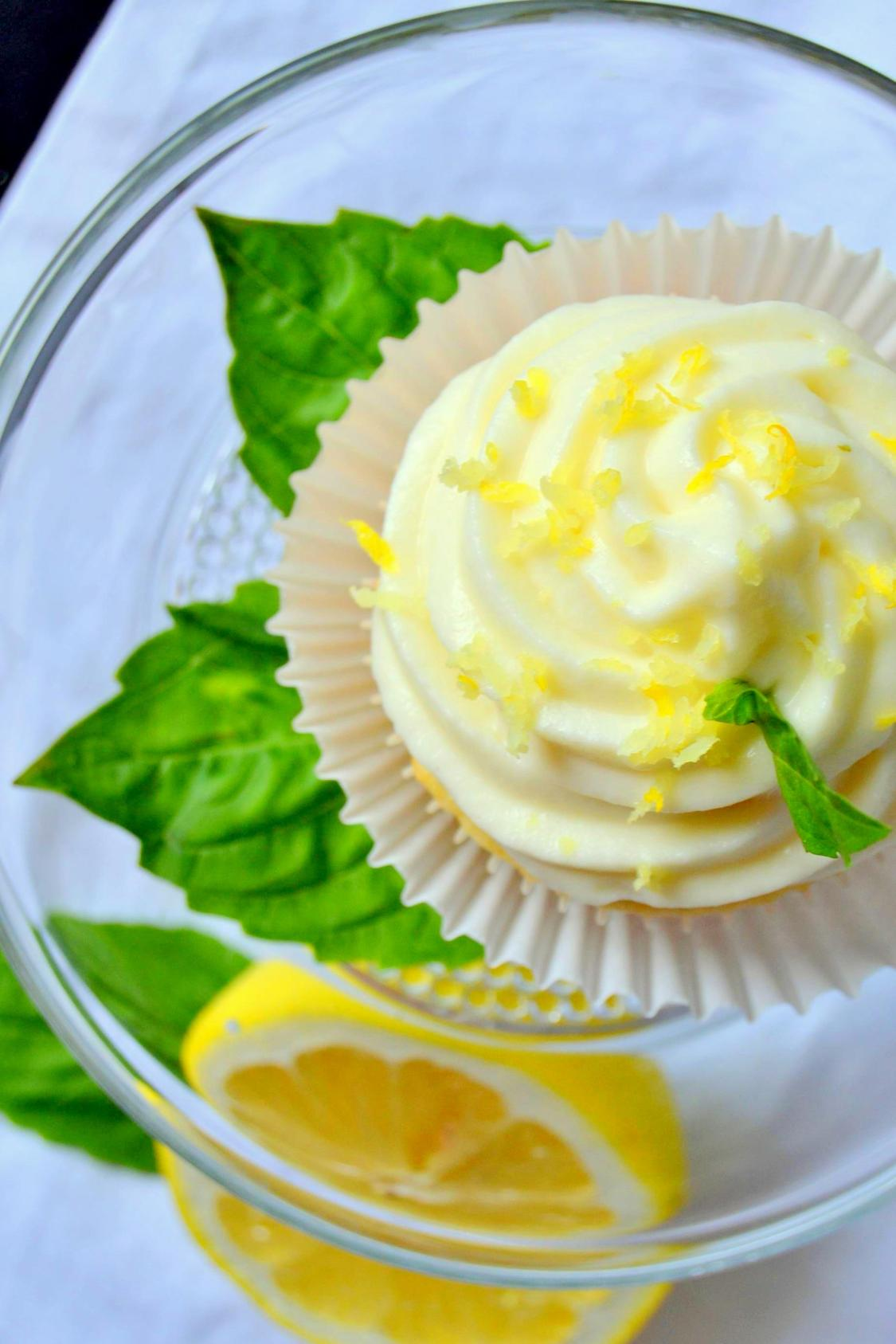 Tattooed Martha - Lemon Cupcakes with Basil Whipped Cream Frosting (8)