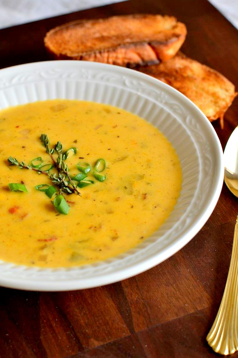 Butternut Squash, Beer, Bacon & Cheddar Soup
