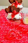 Brownie Dessert Cups with Whipped Cream and Raspberry Sauce