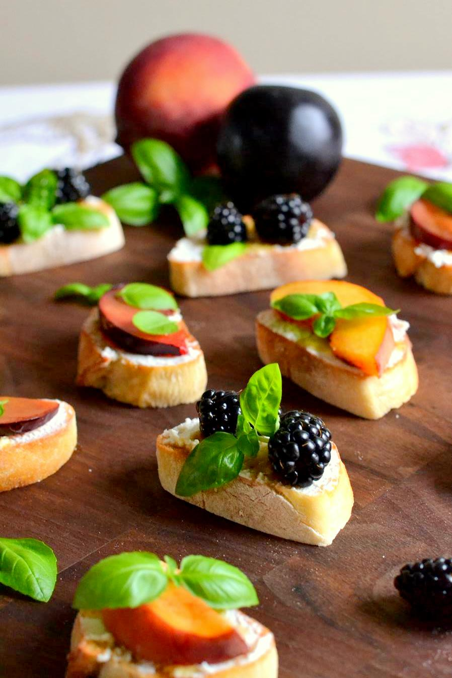 Spring Fruit and Basil Bruschetta