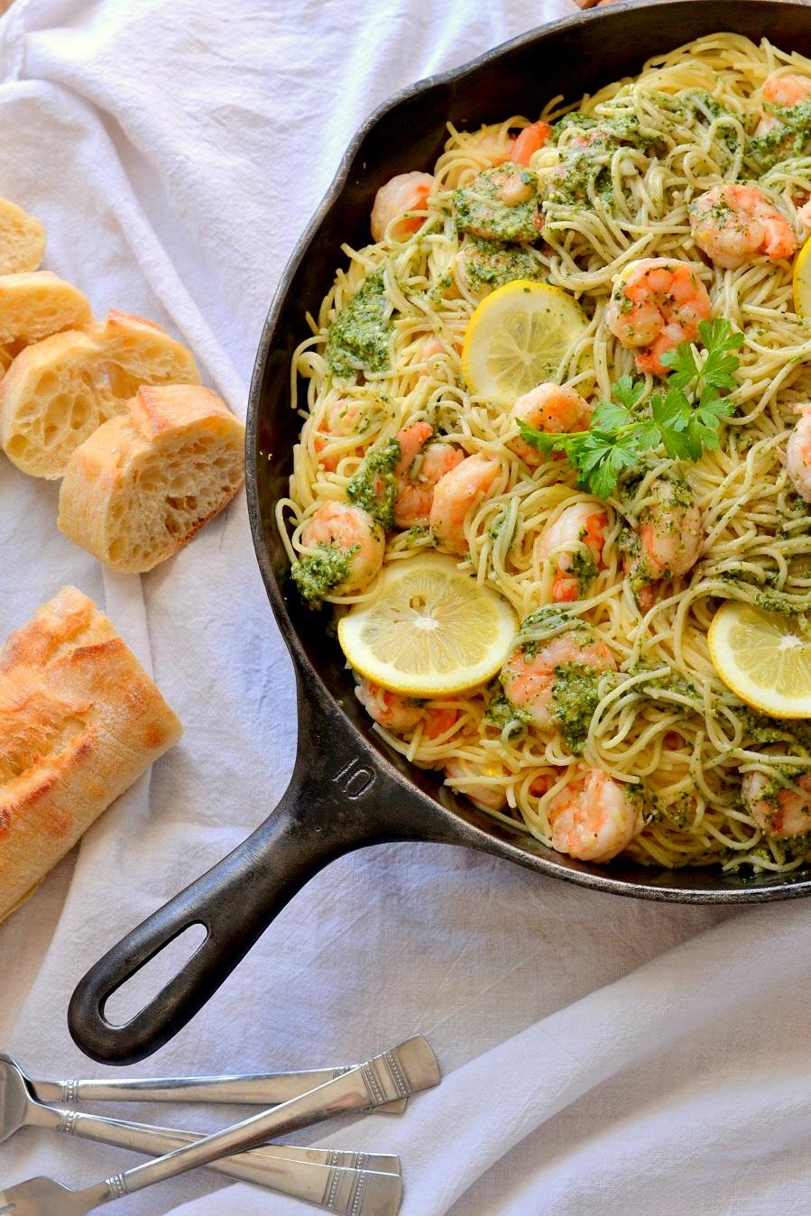 Lemon Parsley Pesto Shrimp Pasta