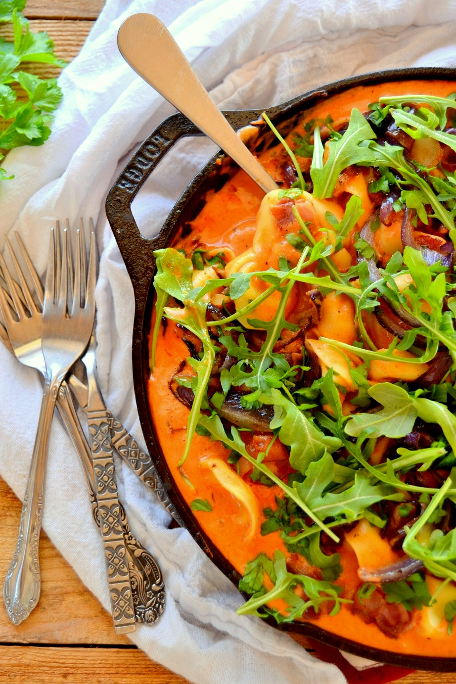 Tortellini in Tomato Cream Sauce with Bacon & Arugula