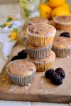 Blackberry Vanilla Chai Muffins with Lemon Glaze