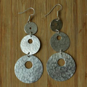 Fair Trade Silver plate three circle large drop earrings JELS2