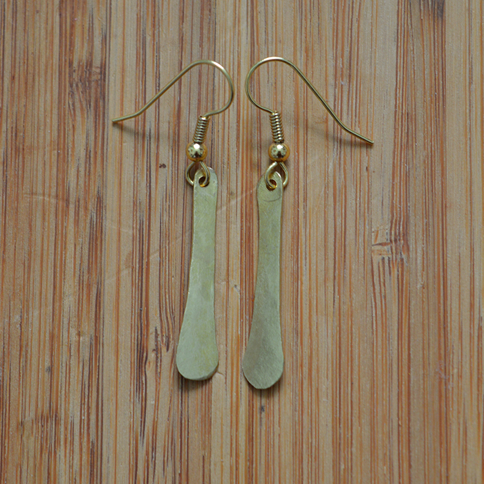 Fair Trade Brass petal earrings JEMB42