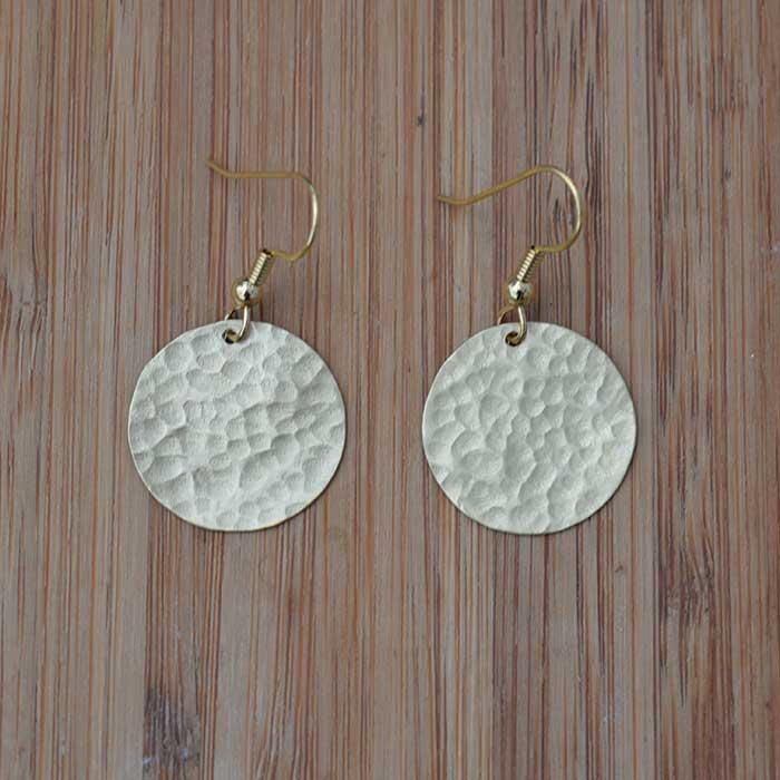 Brass single disc earrings JEBB11