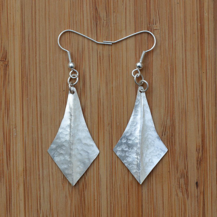 Fair Trade Silver plated fluted earrings JEMS45