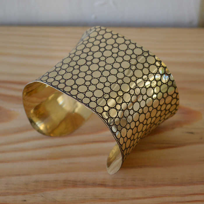 Fair Trade Brass geometric cuff JCbg1