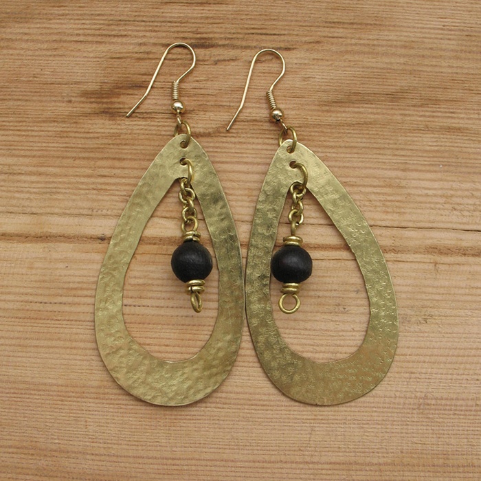 Fair Trade Brass teardrop + black wood earrings JEMB6