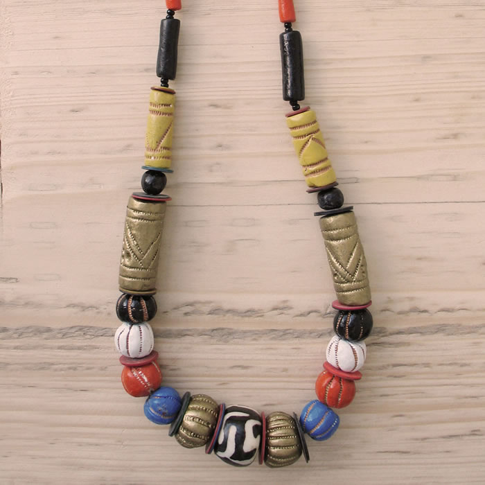 Clay and glass bead necklace JCG1