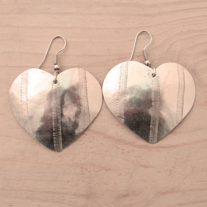 Silver plate heart earrings JEMS8