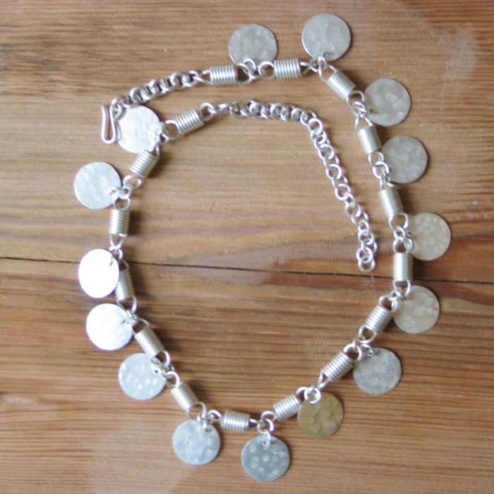 Silver plate coin and coil necklace JNS2