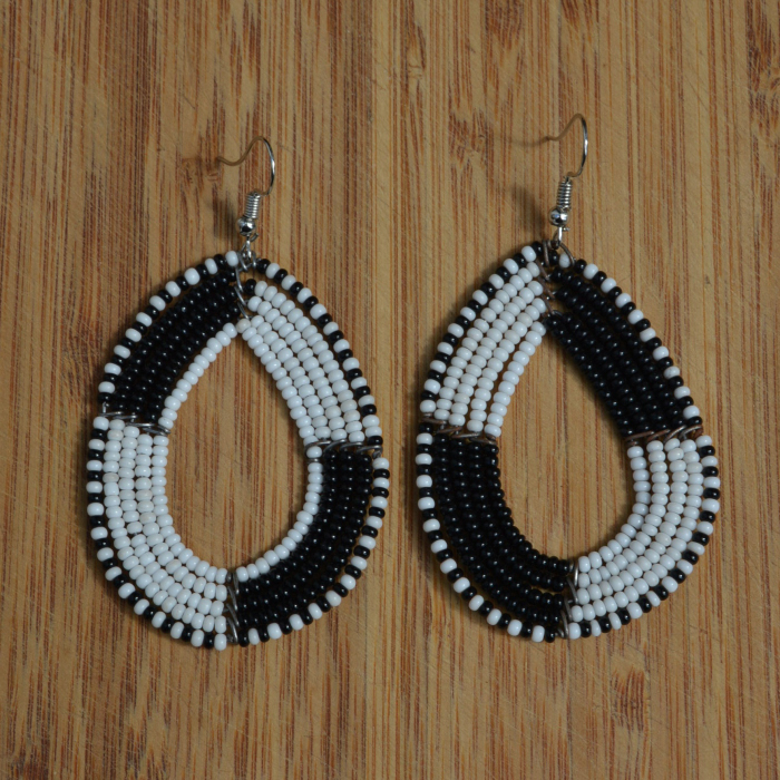 Fair Trade Oval black and white bead earrings JEBdbw