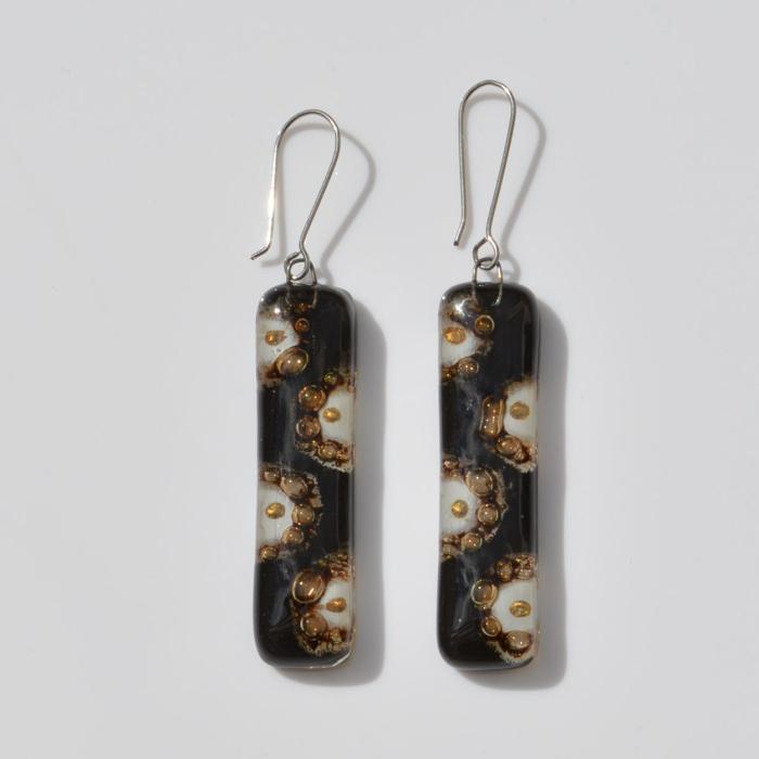Fair Trade Glass earrings – black/gold/white JEGbg