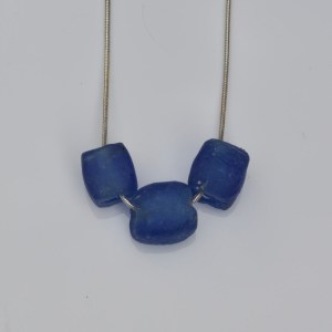 Fair Trade Glass pendant shaped bead dark blue JNG14