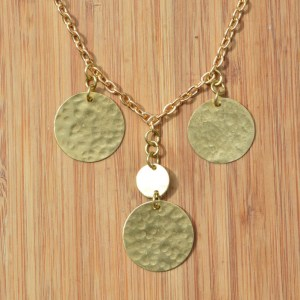Fair Trade Brass discs necklace JNB3
