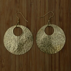 Fair Trade Brass medium circle + cut out earrings JEMB1