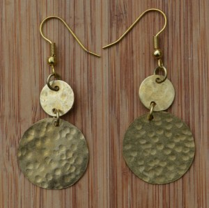 Fair Trade Brass two coin earrings JEBB2