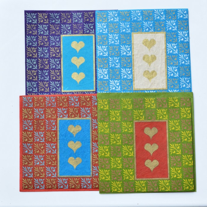 Fair Trade Cards Lotka three hearts pack of four – CPlh