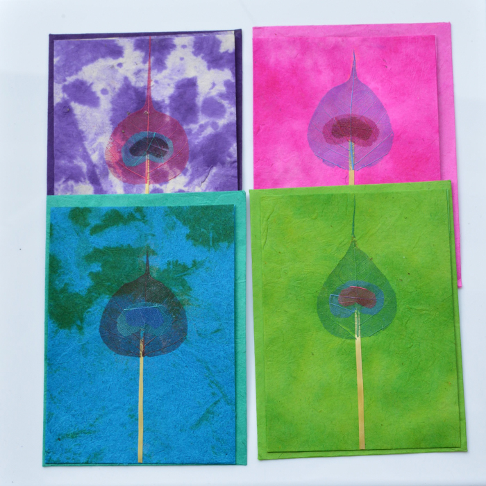 Fair Trade Cards Lotka peacock leaf pack of four – CPlpl