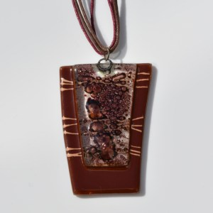 Fair Trade Glass pendant rhomboid brown JNG12