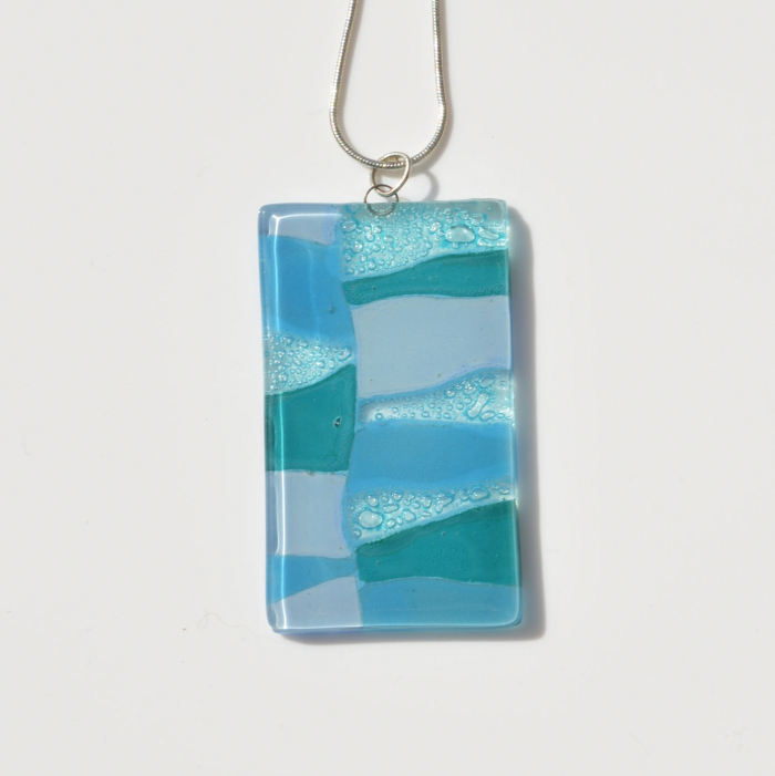 Fair Trade Glass pendant rhomboid light blues JNG10