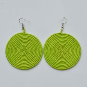 Fair Trade Sisal earrings – large, lime JESll