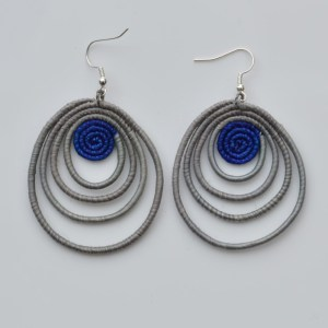 Fair Trade Sisal earrings – teardrop, grey/blue JEStg