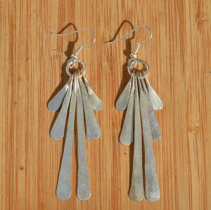 Fair Trade Silver plate six petal earrings JELS3