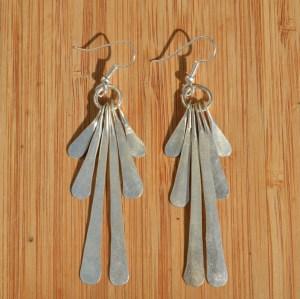 Fair Trade Silver plate six petal earrings JELS3