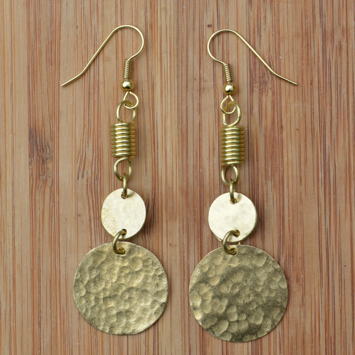 Fair Trade Brass two coin and coil earrings JEBB3