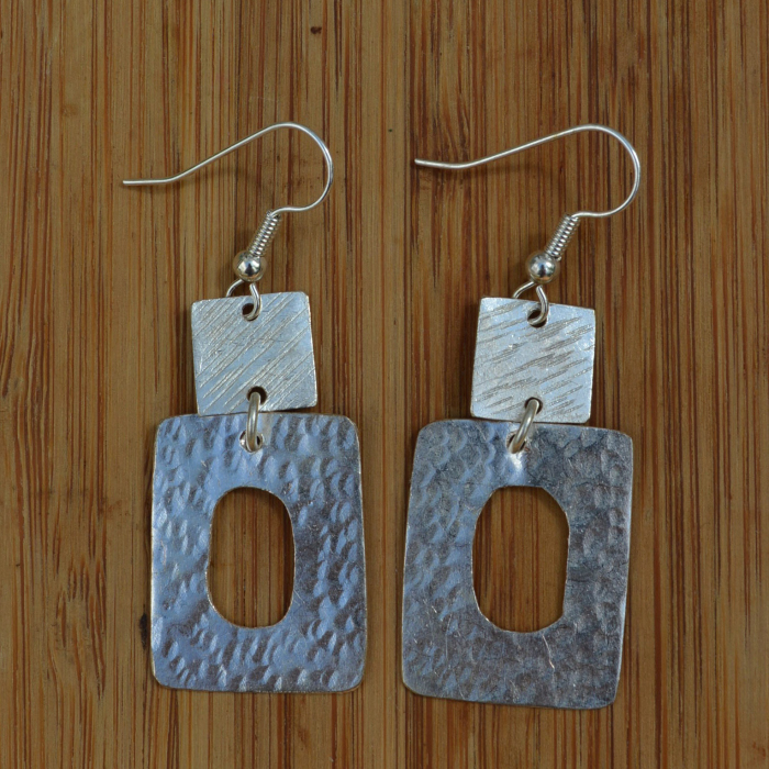 Fair Trade Silver plated two squares earrings JEMS63