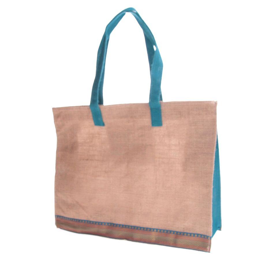 Fair Trade Jute Shopping Bag Ribbon Design 599