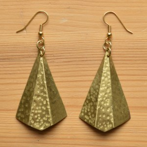 brass fan fair trade earrings