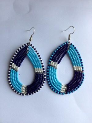 blues bead earrings