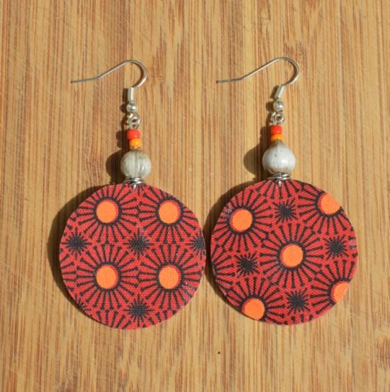 fabric earrings orange