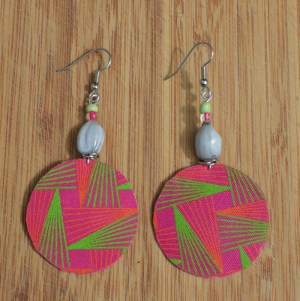 African fabric earrings pink