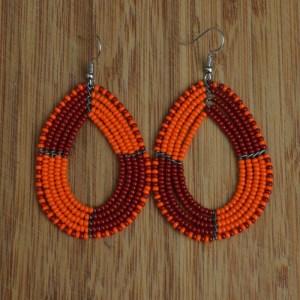 orange and red bead earrings
