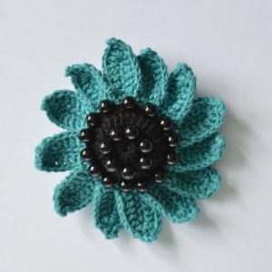 blue sunflower brooch