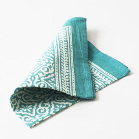 Jaipur-Aqua block print napkins