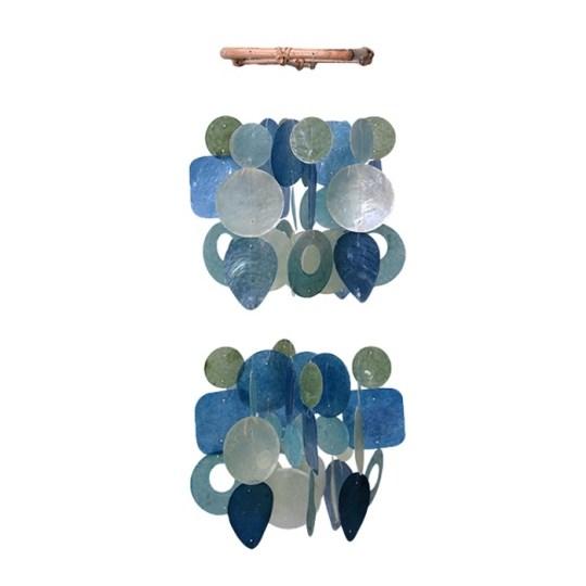 green blue capiz chimes mini