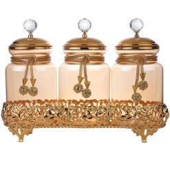 gold color jar set